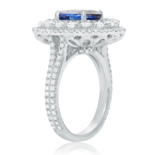 GIA LARGE 4.62CT DIAMOND & AAA SAPPHIRE 18K WHITE GOLD OVAL FLOWER COCKTAIL RING