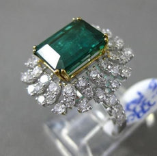 ESTATE LARGE 5.61CT DIAMOND & EMERALD 18KT TWO TONE GOLD ETERNITY COCKTAIL RING