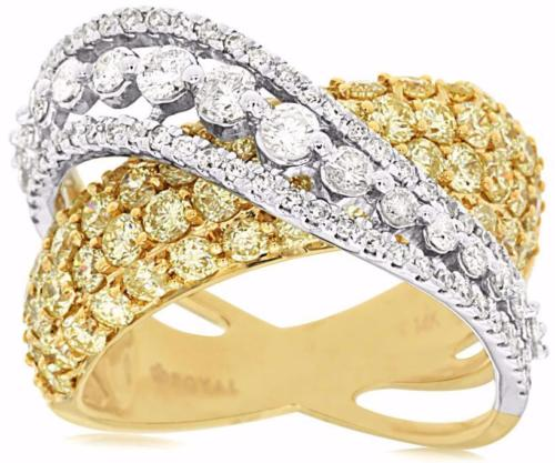 2.95CT WHITE & FANCY YELLOW DIAMOND 14K YELLOW GOLD MULTI ROW INFINITY LOVE RING