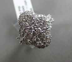 ESTATE LARGE 2.0CT DIAMOND 14KT WHITE GOLD 3D MUTI FLOWER HALO COCKTAIL RING