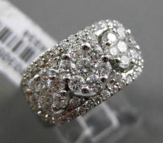 ESTATE WIDE 1.39CT DIAMOND 18KT WHITE GOLD HALO CLUSTER FUN COCKTAIL RING