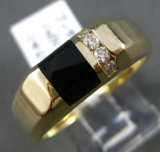 ESTATE .14CT DIAMOND & ONYX 14KT YELLOW GOLD 4 STONE 3D MENS RING HANDSOME!
