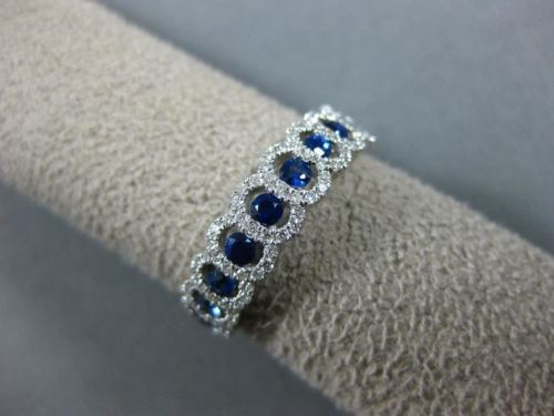 .75CT DIAMOND & SAPPHIRE 18KT WHITE GOLD 3D HALO SEMI ETERNITY ANNIVERSARY RING