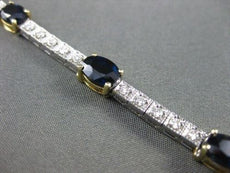 ANTIQUE 8.60CT DIAMOND & AAA SAPPHIRE 14KT WHITE & YELLOW GOLD BRACELET #15253