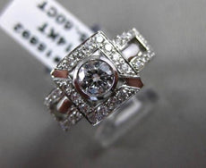ANTIQUE WIDE .95CT DIAMOND 14KT WHITE GOLD SQUARE HALO ENGAGEMENT RING #15892