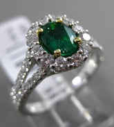 ESTATE 1.47CT DIAMOND & EMERALD 18KT WHITE GOLD 3D HALO FILIGREE ENGAGEMENT RING