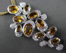 ESTATE MASSIVE 4.17CT DIAMOND & CITRINE 14KT WHITE GOLD 3D HANGING NECKLACE