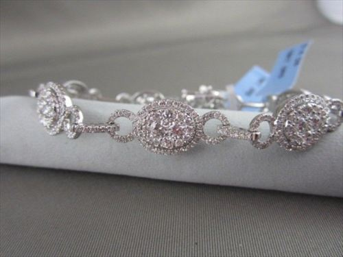 ANTIQUE 4.24CT WIDE FILIGREE 18KT DIAMOND ROUND BRACELET