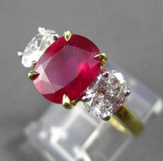ANTIQUE 3.59CT DIAMOND & AAA RUBY PLATINUM & 18KT 3 STONE ENGAGEMENT RING E/F