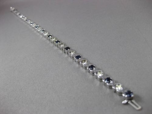 ESTATE WIDE 4.50CTW DIAMOND & AAA SAPPHIRE 14KT WHITE GOLD LOVE BRACELET #23375