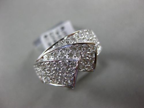 ESTATE WIDE .85CT ROUND DIAMOND 14KT WHITE GOLD 3D PAVE MULTI ROW FUN LOVE RING