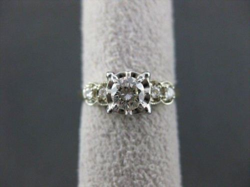 ANTIQUE .55CTW OLD MINE DIAMOND 14K WHITE & YELLOW ENGAGMENT RING H/I VS #21917
