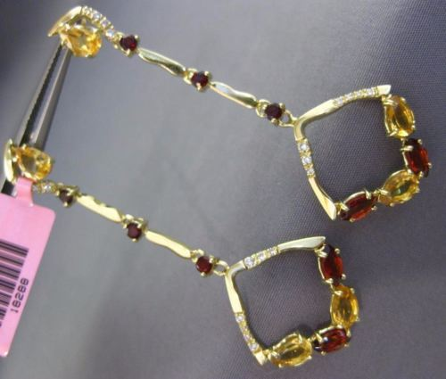 LARGE 2.7CT DIAMOND & AAA CITRINE GARNET 14K YELLOW GOLD SQUARE HANGING EARRINGS