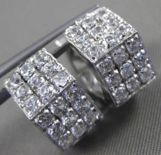 ESTATE 14KT WHITE GOLD 3D 3 ROW CUBIC ZIRCONIA HEXAGON HUGGIE EARRINGS #24347