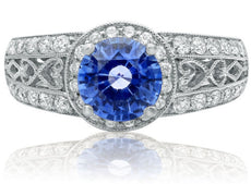 ESTATE 2.14CT DIAMOND & AAA SAPPHIRE 18KT WHITE GOLD MULTI HEART ENGAGEMENT RING