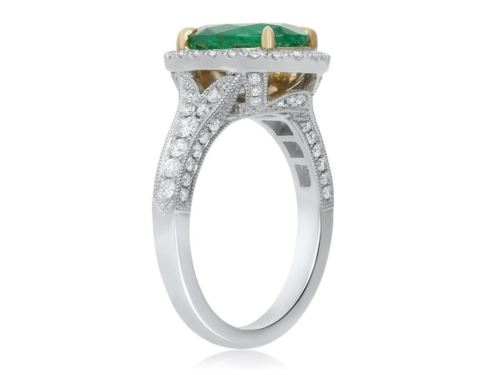 LARGE 4.14CT DIAMOND & AAA COLOMBIAN EMERALD 18KT TWO TONE GOLD ENGAGEMENT RING