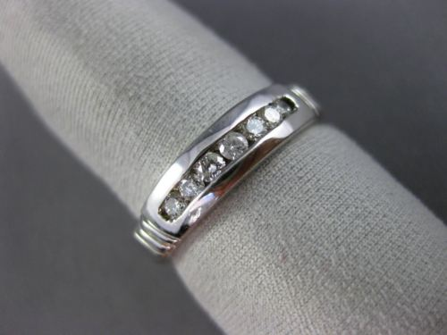 ESTATE WIDE .25CT DIAMOND 14KT WHITE GOLD 7 STONE WEDDING ANNIVERSARY RING 1198