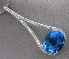ESTATE X LARGE 5.69CT DIAMOND & AAA BLUE TOPAZ 14K WHITE GOLD PEAR SHAPE PENDANT