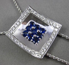ESTATE MASSIVE 1.75CTW DIAMOND & AAA SAPPHIRE 18KT WHITE GOLD 3D LARIAT NECKLACE