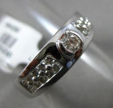 ESTATE .72CT ROUND DIAMOND 14KT WHITE GOLD SEMI BEZEL SOLITAIRE MENS PINKY RING