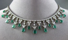 ESTATE 13.40CT DIAMOND & EMERALD 14KT WHITE GOLD 3D FLORAL DROP NECKLACE #24874