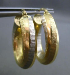 ESTATE WIDE 14KT WHITE & YELLOW GOLD MATTE & SHINY ELONGATED OVAL HOOP EARRINGS
