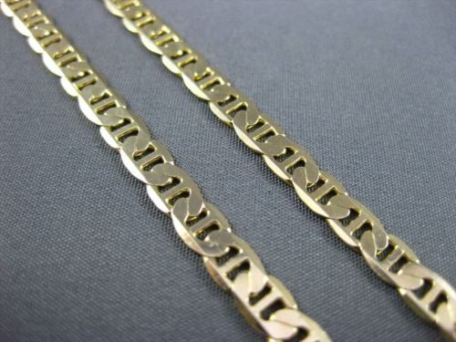 ESTATE WIDE & LONG 14KT YELLOW GOLD CLASSIC MARINER MENS NECKLACE CHAIN #21798