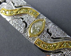 ESTATE WIDE 5.70CT WHITE & FANCY YELLOW DIAMOND 18K 2TONE GOLD FILIGREE BRACELET