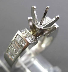 ESTATE WIDE 1.60CT DIAMOND PLATINUM SIX PRONG SEMI MOUNT ENGAGEMENT RING #13900