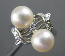 ANTIQUE WIDE .05CT OLD MINE DIAMOND 14K WHITE GOLD SOUTH SEA PEARL RING #20659