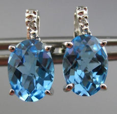 ESTATE 2.72CT DIAMOND & AAA EXTRA FACET BLUE TOPAZ 14KT WHITE GOLD STUD EARRINGS