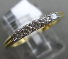 ESTATE .25CT DIAMOND 14K YELLOW GOLD 3D 5 STONE CLASSIC WEDDING ANNIVERSARY RING