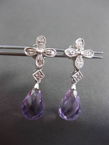 ANTIQUE 6.15CTW AAA AMETHYST & DIAMOND 18KT WHITE GOLD HANGING EARRINGS #22966