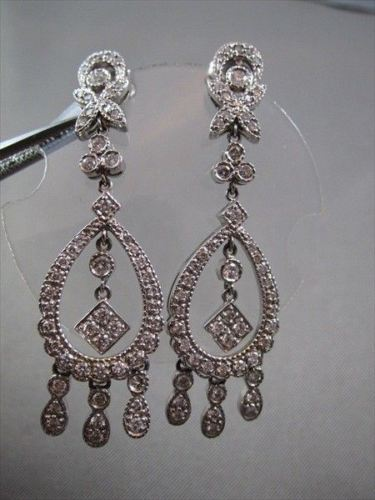 ANTIQUE 1.60CT ROUND DIAMOND 14KT W GOLD DROP HANGING EARRINGS ONE OF A KIND!!!!
