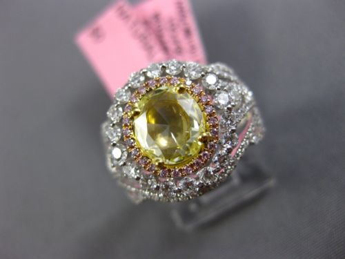 ESTATE 2.27CT MULTI COLOR DIAMOND 18K 2 TONE GOLD 3D OVAL FLOWER ENGAGEMENT RING