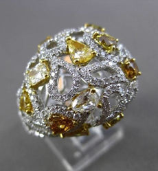 ESTATE LARGE 3.02CT FANCY COLOR DIAMOND 18KT TWO TONE GOLD ETOILE COCKTAIL RING