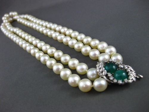 ANTIQUE DIAMOND & EMERALD 14K WHITE GOLD DOUBLE STRAND AAA PEARL NECKLACE #22637