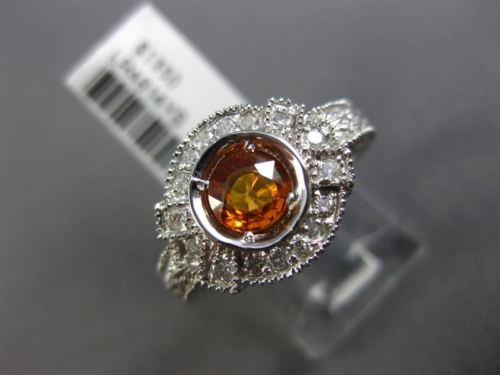 ESTATE WIDE .92CT DIAMOND & AAA YELLOW SAPPHIRE 14KT WHITE GOLD ENGAGEMENT RING