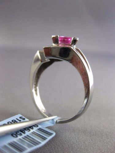 ESTATE .95CT DIAMOND & AAA PINK SAPPHIRE 14K WHITE GOLD TRILLION ENGAGEMENT RING