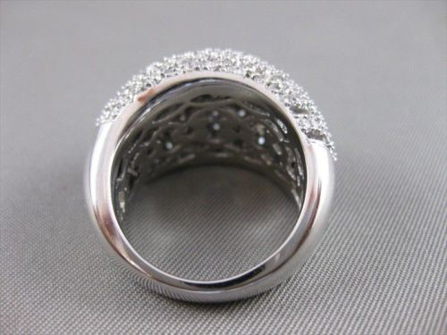 LARGE ANTIQUE 2.75CTW DIAMOND 14KT WHITE GOLD PUFF COCKTAIL RING F/G VVS #18496