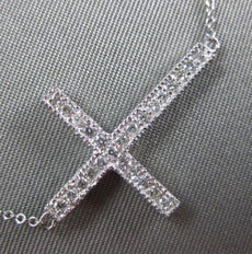 ESTATE .25CT DIAMOND 14KT WHITE GOLD 3D CLASSIC FILIGREE SIDEWAY CROSS NACKLACE