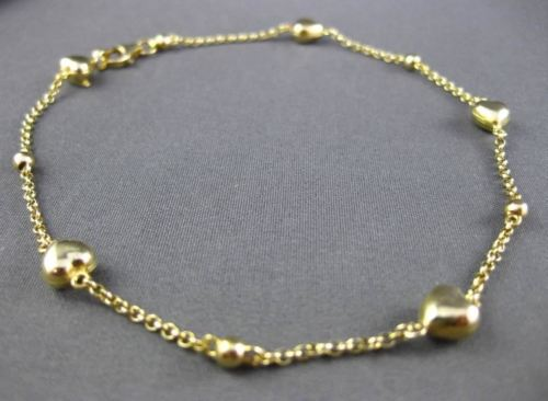 ESTATE LONG 14KT YELLOW GOLD 3D MULTI HEART BY THE YARD ANKLE BRACELET #23660