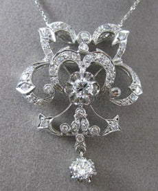 ANTIQUE EXTRA LARGE 1.82CT DIAMOND 18KT WHITE GOLD FLOWER PENDANT BROOCH #24829
