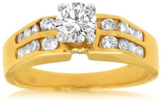ESTATE .77CT ROUND DIAMOND 14KT YELLOW GOLD 3D TWO ROW CHANNEL ENGAGEMENT RING