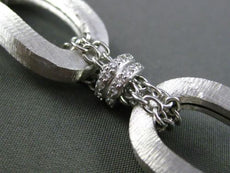 ESTATE WIDE .80CT DIAMOND 14KT WHITE GOLD 3D SHINY & MATTE LINK CHAIN BRACELET