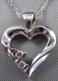 SMALL ESTATE DIAMOND 14KT WHITE GOLD OPEN LOVE HEART PENDANT + CHAIN #14MMx15MM