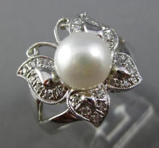 ESTATE WIDE .30CT DIAMOND 14K WHITE GOLD SOUTH SEA PEARL FILIGREE BUTTERFLY RING