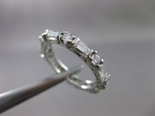 ANTIQUE .90CT DIAMOND PLATINUM ROUND & TAPERED BAGUETTE ETERNITY RING 3mm #18142