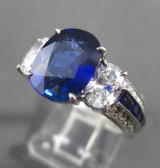 ANTIQUE PLATINUM 4.83CT DIAMOND & AAA SAPPHIRE 3 STONE ENGAGEMENT RING E/F VVS