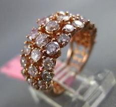 ESTATE WIDE 2.85CT ROUND DIAMOND 18K ROSE GOLD 3D 3 ROW WEDDING ANNIVERSARY RING